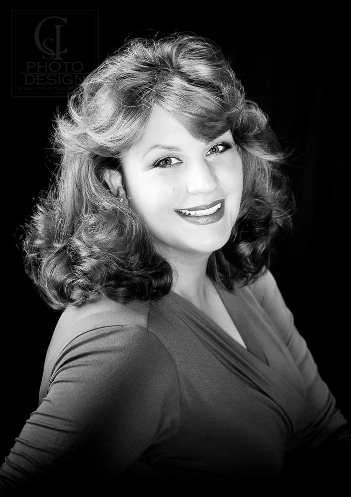 Business woman on a black background black and white