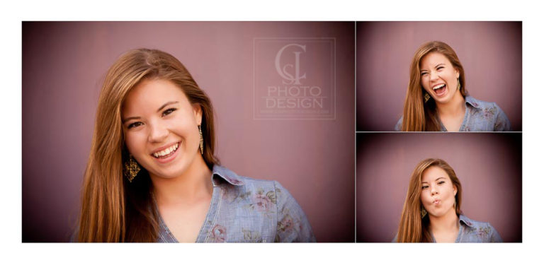 Senior girl composite goofing off in front of mauve wall