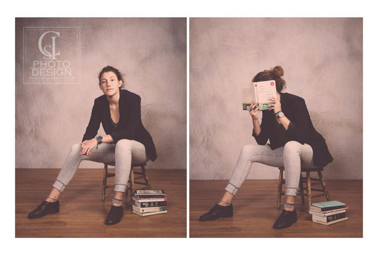 Senior girl sitting on a stool in studio with books