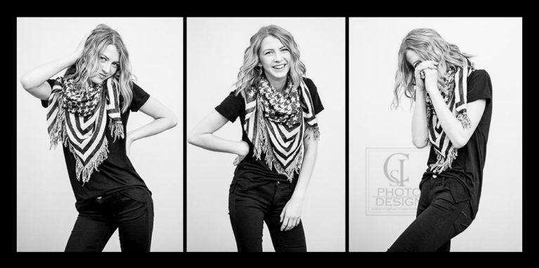 Senior girl in black and white composite goofing off
