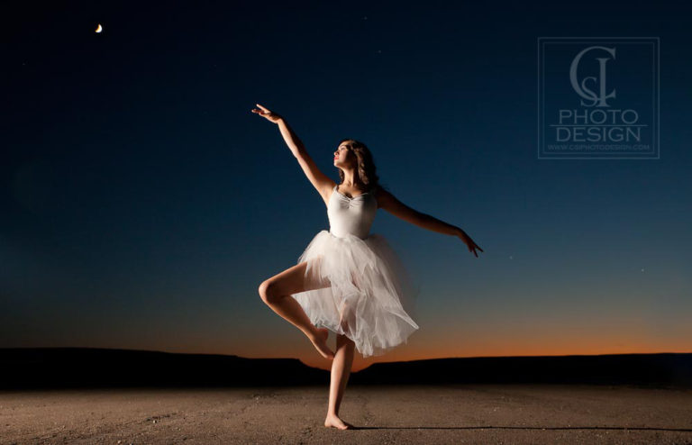 Senior girl pirouette sunset and the moon