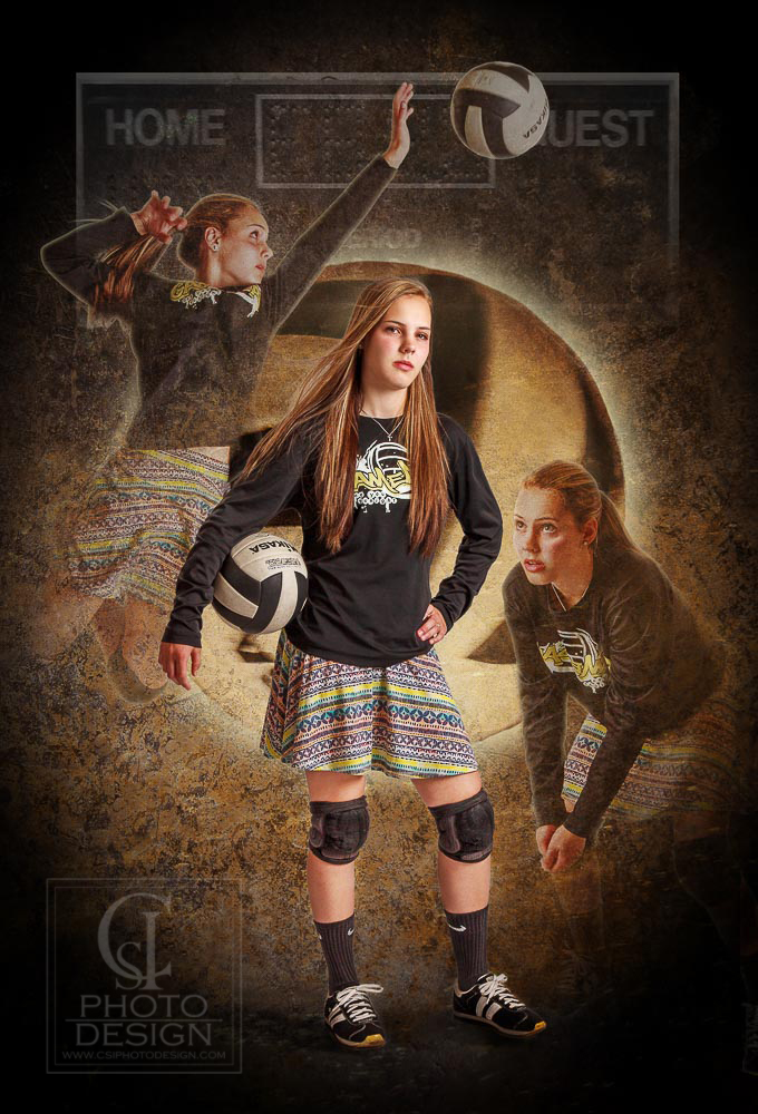 Senior girl Volleyball sport composite