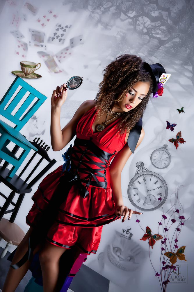 Senior girl in a red dress steampunk teaparty composite