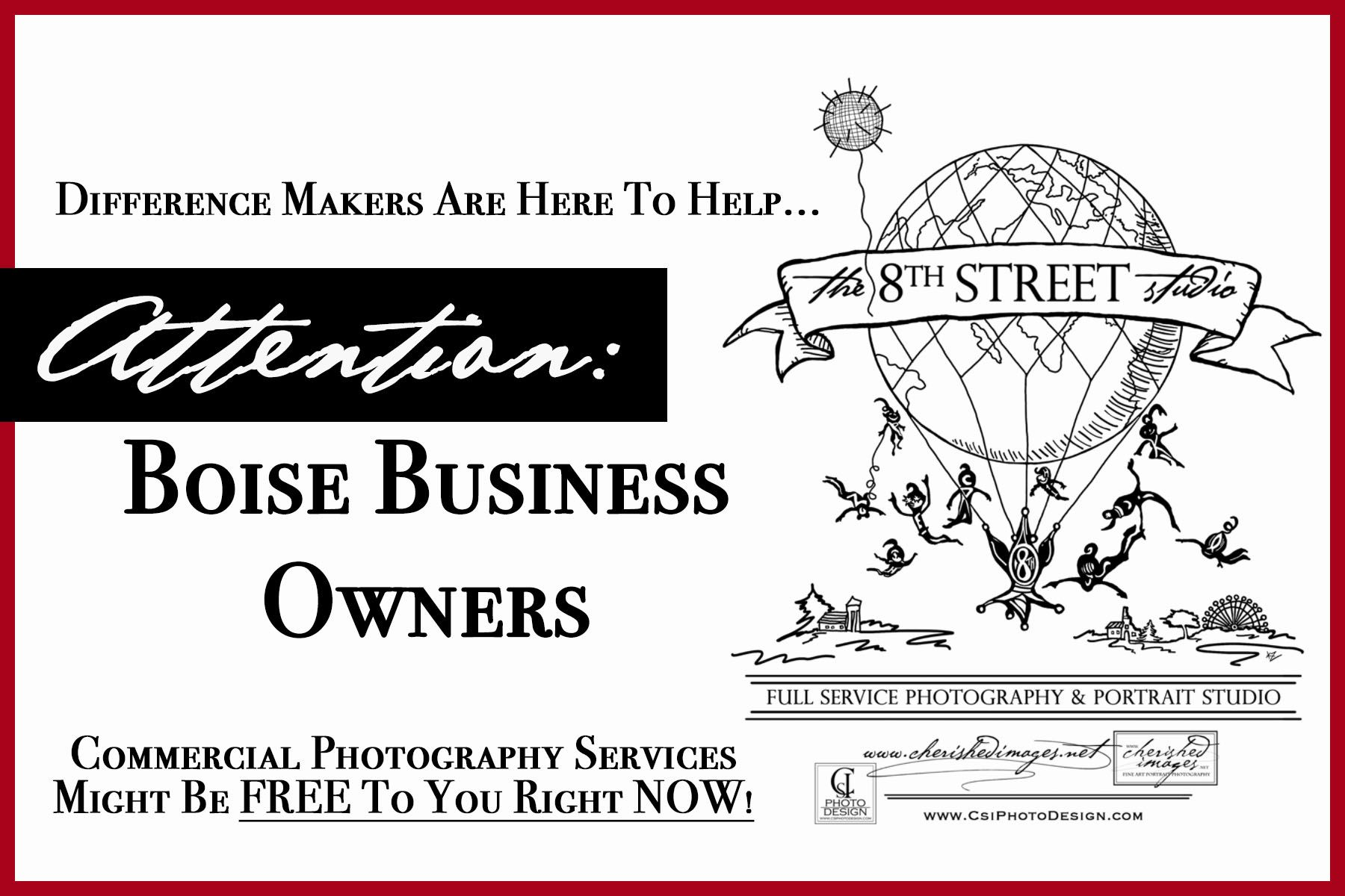 Commercial Photography might be free to Boise Business Owners Right Now